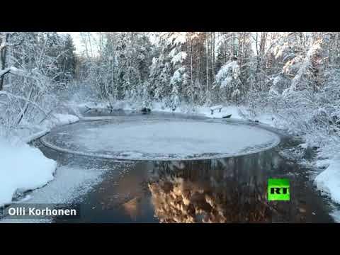 حراك دائري غريب وسط نهر في فنلندا