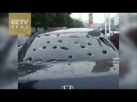 Footage: Hailstones as big as eggs hit southwest China