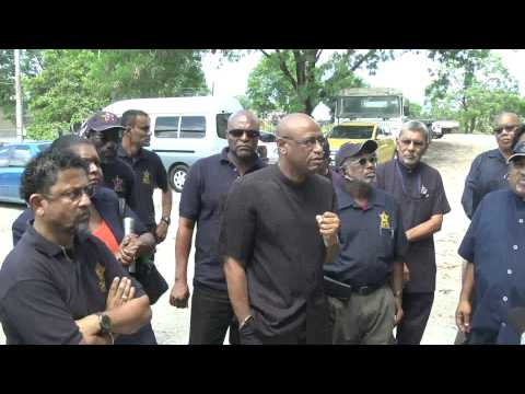 TCL Suspended Workers Return to Work accompanied by OWTU's Roget - Nov. 3, 2014 - Trinidad & Tobago
