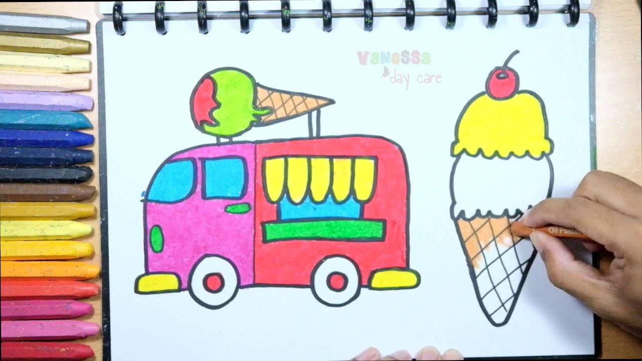 Menggambar Truk Es Krim   Tutorial Mewarnai dengan Crayon untuk ...