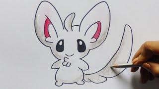 Dibujando y coloreando a Minccino (pokemon) - Drawing and coloring to Minccino