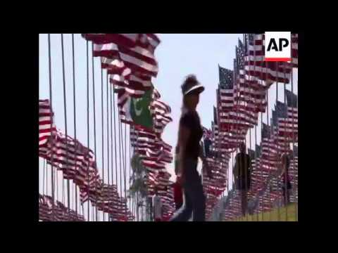On the campus of Pepperdine University in Malibu, Calif, nearly 3,000 flags honor the victims and em
