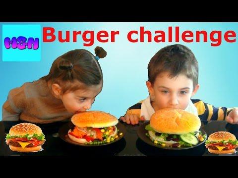 ბურგერ ჩელენჯი მათე და ნინა ამზადებენ გიგანტურ ჰამბურგერებს hamburger xxl challenge BURGER Challenge