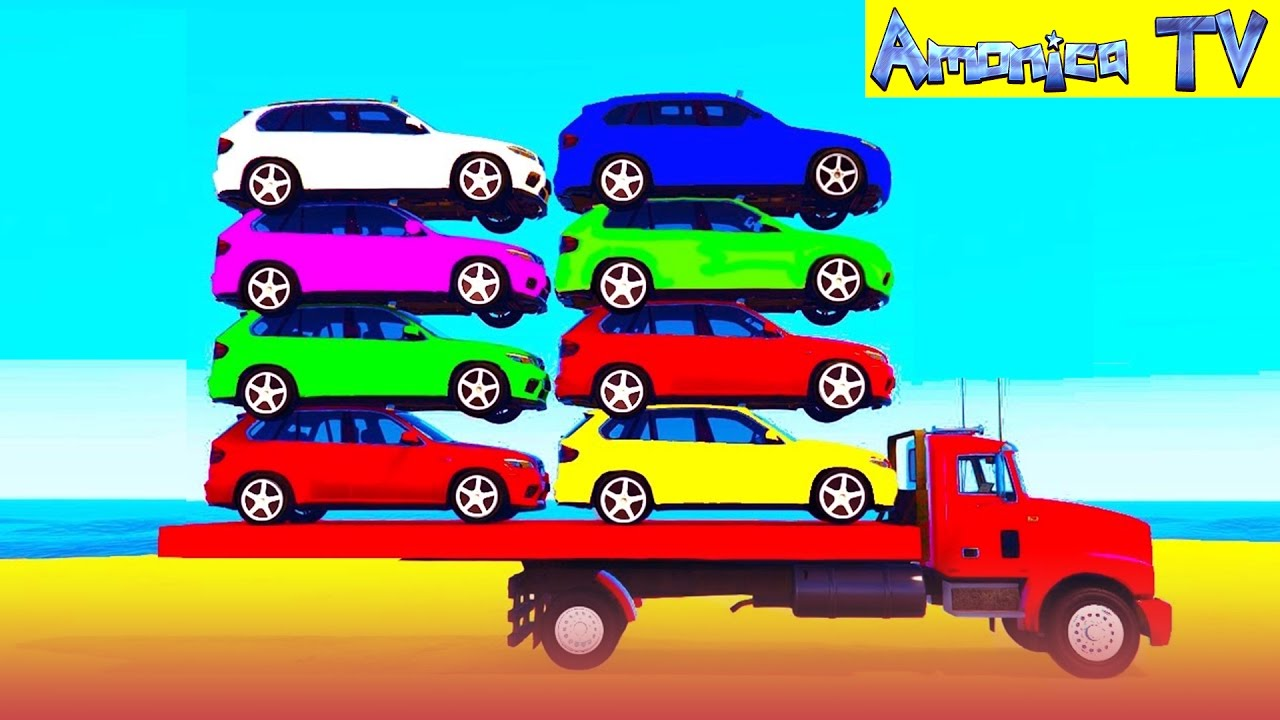 Learn Colors With Small Car In Spiderman Cartoon For Kids