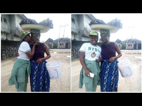 Female corps member shows off her mum who sold fish to sponsor her education (photos)