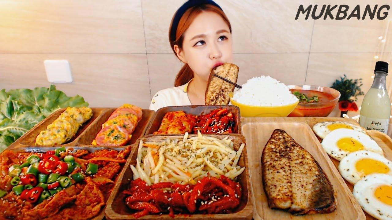 SUB) 한식12첩반상 한식인데 막걸리가 빠질수 없쥬 (쌈도싸머겅) 제육볶음 생선구이 땡초 집밥 먹방 Korean Food MUKBANG ASMR yummy eating show