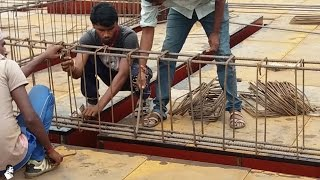 Installation of Rebar / Reinforcement Steel Bars for Beam I On Site Fixing of Reinforcement
