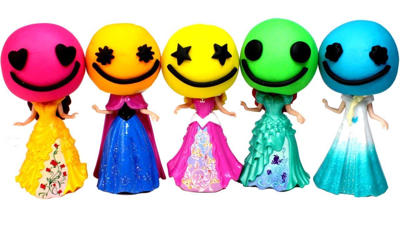 Play Doh Disney Princess Dresses MagiClip Dolls Ariel Frozen Elsa Belle  Anna Play Doh Dress for Kids