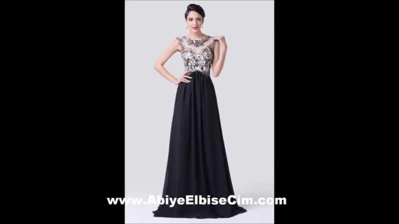 65b93008740a9 uzun abiye elbise siyah dantelli kolsuz - YouTube