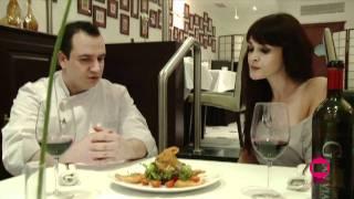 Ensalada templada de langostinos, saquito de queso de cabra y vinagreta de mostaza