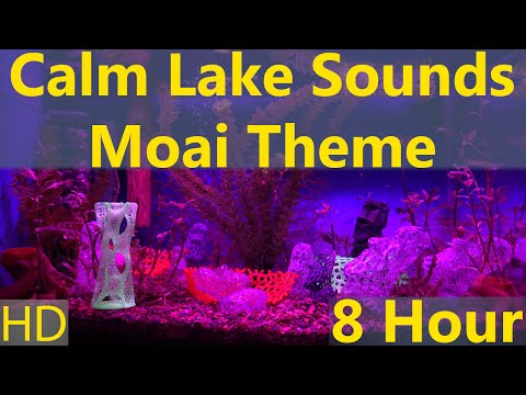 Relaxing 8 Hours Calm Lake Sounds with Moai Decor 1080p