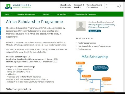 Masters Scholarship in the Netherlands for African Students @ the University of Wageningen