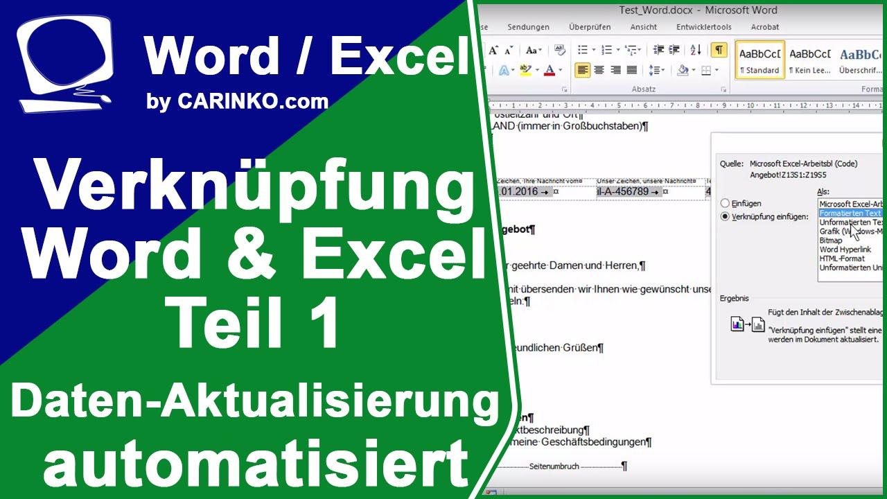 Verknüpfung Excel Und Word Aktualisierung Der Daten Tutorial Teil 1