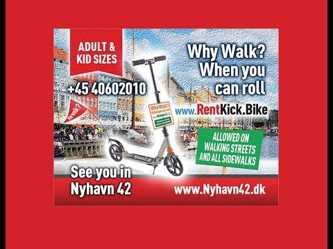 Rent kickbikes Nyhavn 42 ALLOWED ON WALKING STREETS Lej løbehjul,  Tilladt på fortorve og gågader