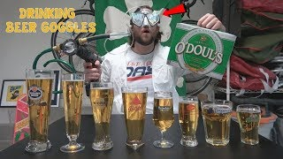Can A Human Drink 8 (Non-Alcoholic) Beers Using Only Beer Goggles And A Power Drill? | L.A. BEAST