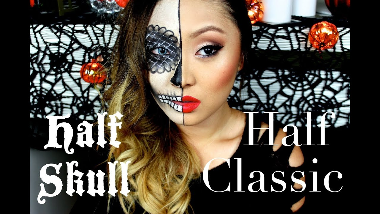 Half sugar skull half classic makeup tutorial youtube baditri Image collections