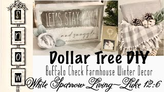 3 DIY DOLLAR TREE BUFFALO CHECK FARMHOUSE WINTER DECOR
