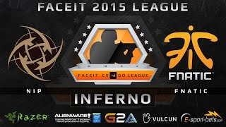 NiP vs Fnatic - Inferno (FACEIT 2015 League)(Play on FACEIT for free: http://www.faceit.com FACEIT on Twitter: http://www.twitter.com/faceit FACEIT on Facebook: https://www.facebook.com/FaceitCommunity ..., 2015-04-03T17:42:23.000Z)