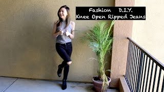 Fashion D.I.Y OPEN KNEE RIPPED JEANS