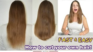 Funny - Easy Way to Cut Your Own Hair! Cutting Long Hair U / V Shaped