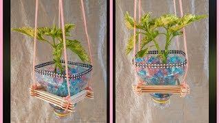 creative ideas from ice cream stick and plastick bottle - Home decor