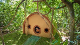 Jungle Survival: Build Grass Roof Hobbit House by Ancient Skills