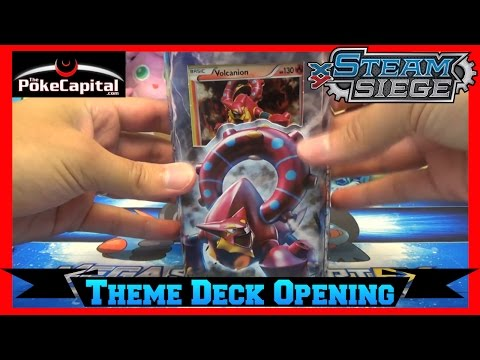 Pokemon Cards Steam Siege Gears Of Fire Volcanion Theme Deck Opening