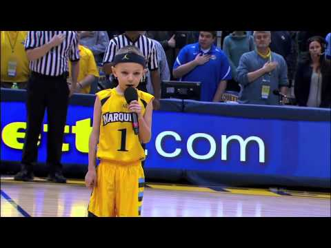 Marquette vs. DePaul - Cooper Smith Sings Star Spangled Banner - Jan. 4, 2014