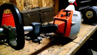 Stihl FS-36 gas trimmer throttle cable repaired