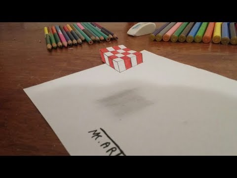 3D trick art on paper,floating chess