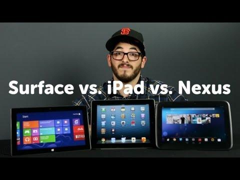 Surface vs. iPad. vs. Nexus 10