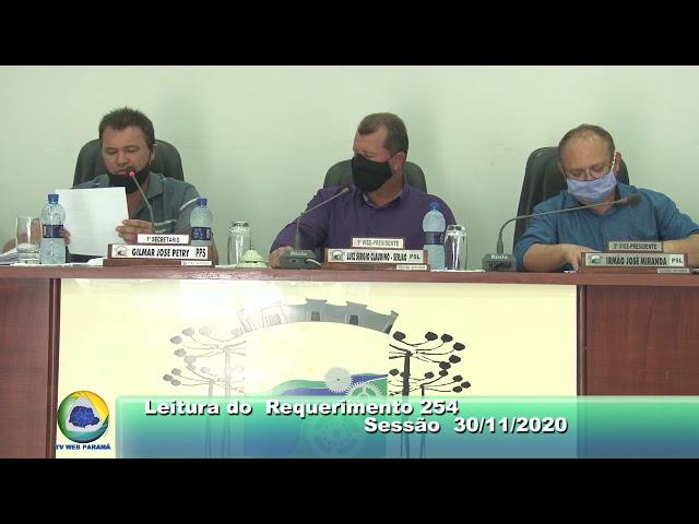 Vereador Irmão José Miranda  PSL Leitura do Requerimento  254 Sessão  30 11 2020