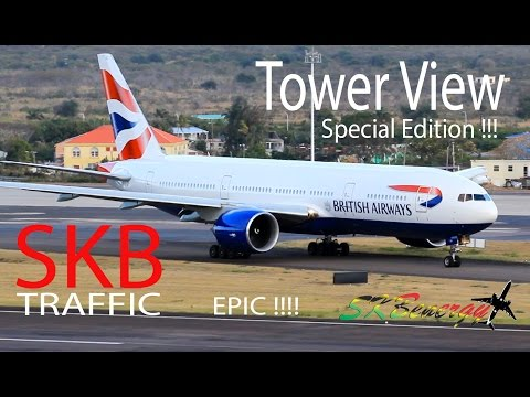 Epic Tower View !!! BA 777-200, AA 757-200, AA 737-800, UA 737-800... action @ St. Kitts Airport