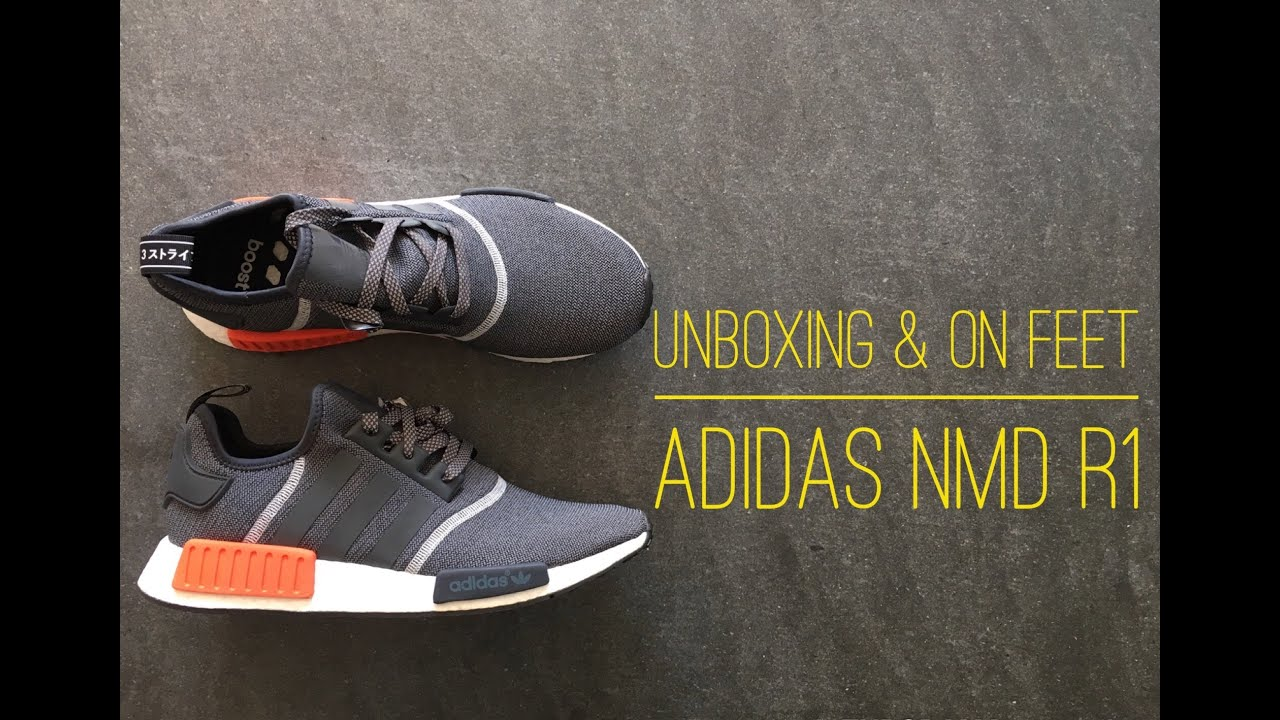 buy online cd895 3b59d Adidas NMD R1 grey  UNBOXING  ON FEET  fashion shoes  brandnew  2016   HD