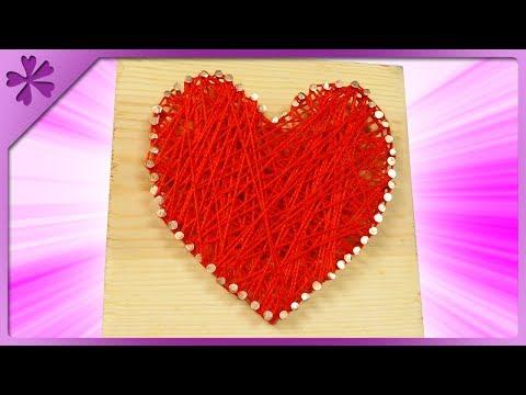 DIY 💗 Yarn heart on a wood board 💗 (ENG Subtitles) - Speed up #569