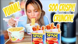 CRUNCHY SPAM FRIES RECIPE 먹방 MUKBANG & of course noodles 🍜