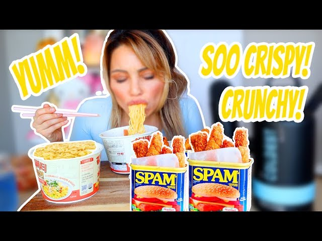 CRUNCHY SPAM FRIES RECIPE 먹방 MUKBANG & of course noodles