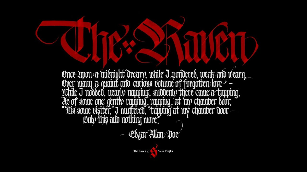 POEM ~ The Raven by  Edgar Allan Poe   WithText.