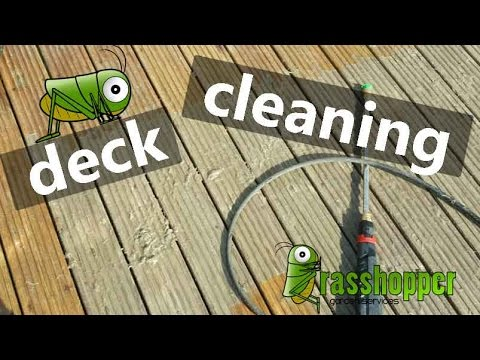 How to clean decking or wood decks - patio cleaning - block paving with a pressure washer