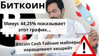 Биткоин минус 44,25% показывает этот график...  Bitcoin Cash Тайные майнеры наращивают хешрейт