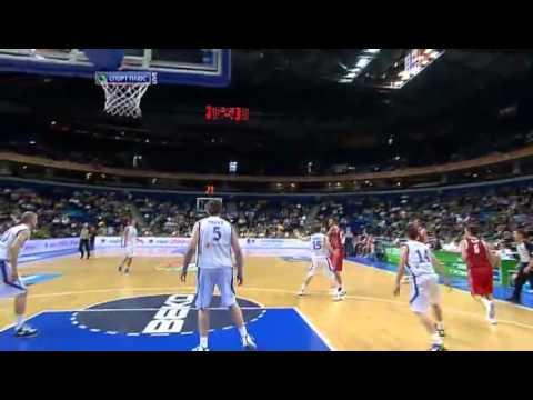Alexey Shved alleyoop from Victor Khryapa (Finland vs. Russia, Eurobasket 2011)