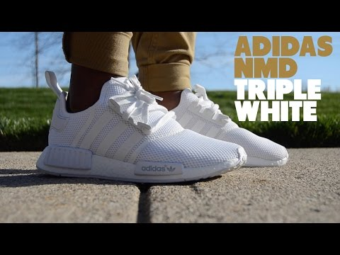 ADIDAS TRIPLE WHITE NMD REVIEW + ON