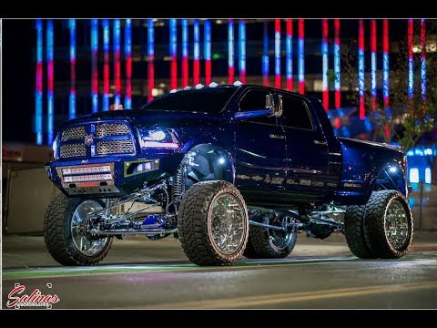 SEMA TWIN TURBO 1400 HORSE POWER DIESEL ON 26 INCH SUPER SINGLES WITH CHROME LIFT CRUISES VEGAS!