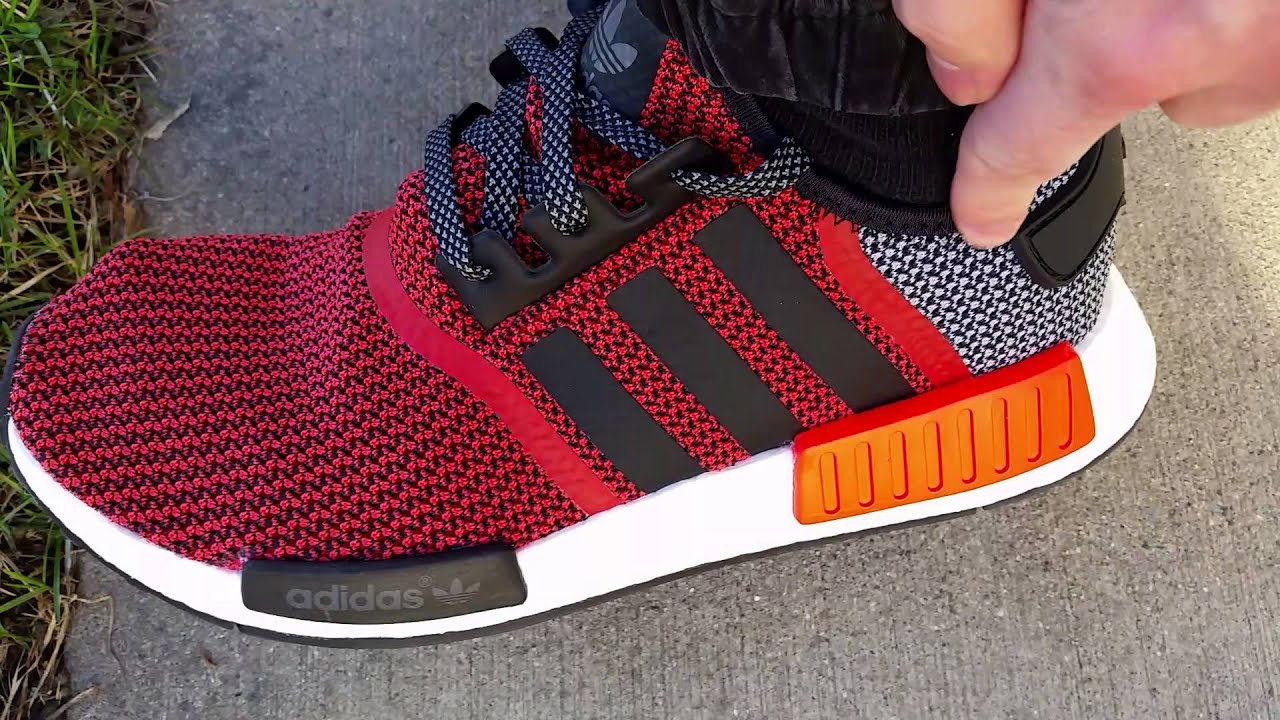 bf0e2c01a ADIDAS NMD R1 MESH RUNNER LUSH RED BLACK ORANGE ON FEET REVIEW HEAT ...