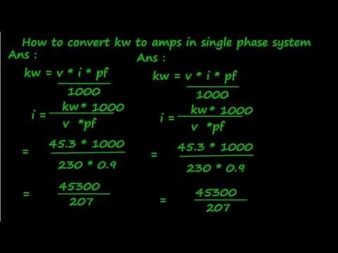 How To Convert Kw To Amps In Single Phase System In Tamil Youtube
