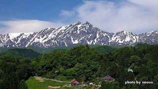 新緑の里山から残雪の北アルプスを望む・4K撮影