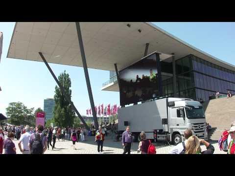 Congress center + truck with video screen