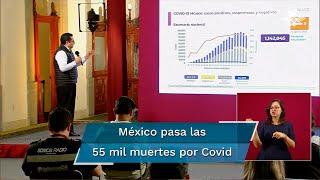 Durante la conferencia de este jueves, el doctor José Luis Alomía informó que las muertes por el nuevo coronavirus suman 55 mil 293