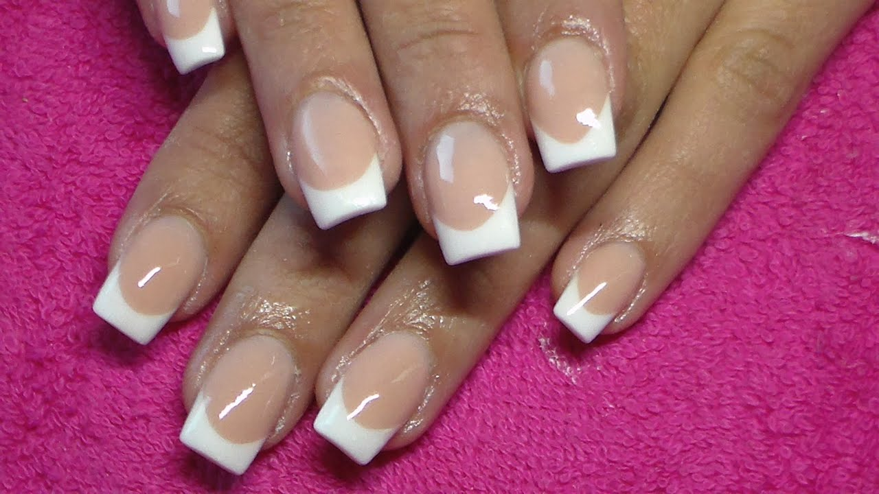 Acrylic Nails | Pink And White French - YouTube