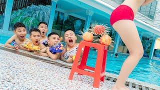 Aqua Nerf War: SWAT & Beautiful Girl Go Swimming Nerf Guns Fight Criminal UNDERWATER PRANK BATTLE